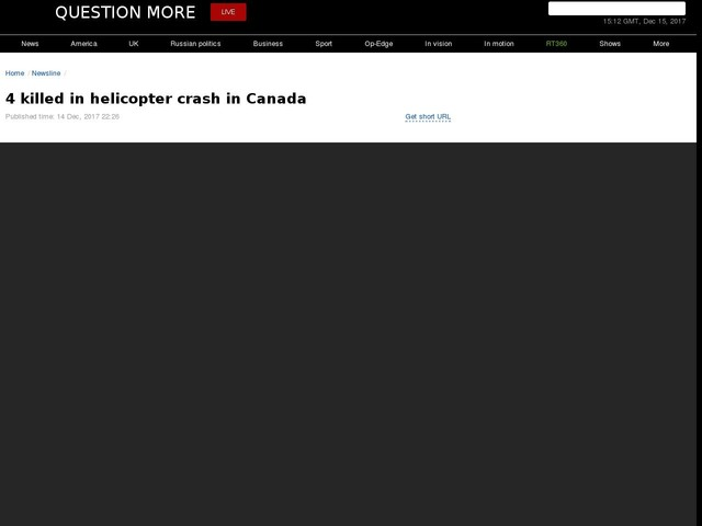 4 killed in helicopter crash in Canada