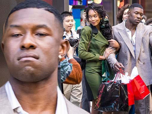 Mike Tyson biopic series Iron Mike starring Trevante Rhodes shoot scenes with Laura Harrier in NYC
