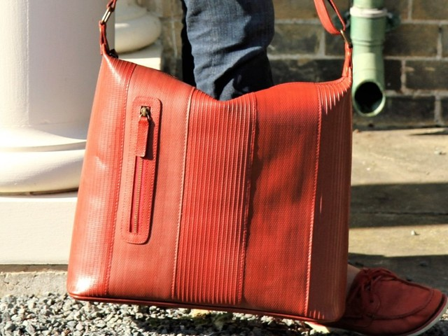 This London-based company makes bags and wallets out of decommissioned fire hoses and recycled leather from Burberry
