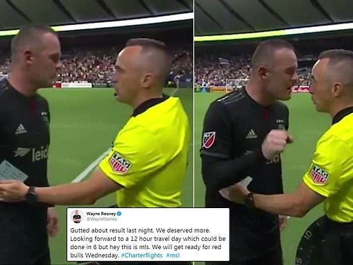 Wayne Rooney yells expletives at MLS official ahead of Derby County move