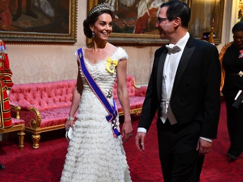 Kate Middleton wore a frill-covered gown fit for a princess to a state banquet with the Trumps