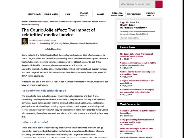 The Couric-Jolie effect: The impact of celebrities' medical advice