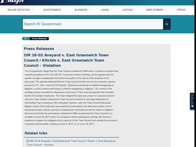 OM 18-02 Aveyard v. East Greenwich Town Council / Kitchin v. East Greenwich Town Council – Violation