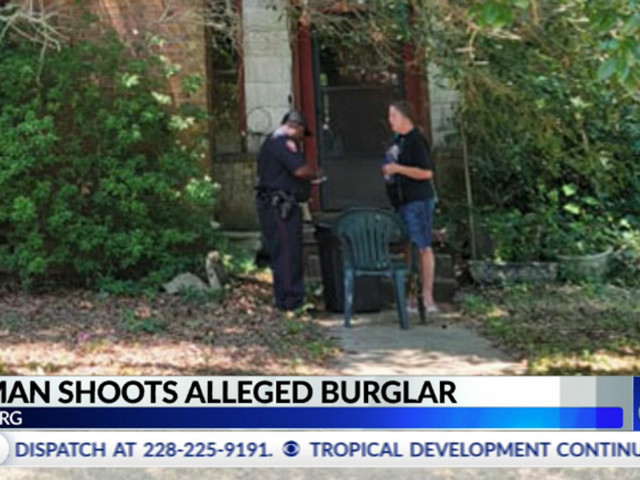 Woman catches burglar in her home, holds him at gunpoint while waiting for police. When he makes a threatening move, she opens fire.