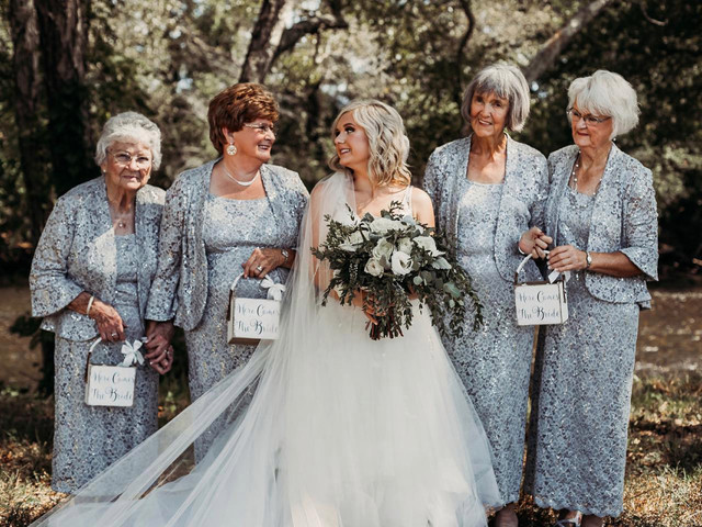 Bride recruits four grandmas as flower girls for wedding