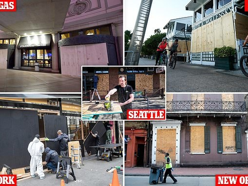 Bars, restaurants and stores are boarded up as three million prepare to file for unemployment