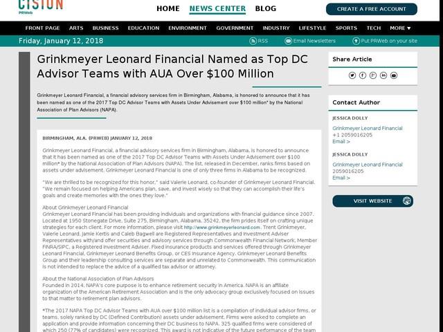 Grinkmeyer Leonard Financial Named as Top DC Advisor Teams with AUA...
