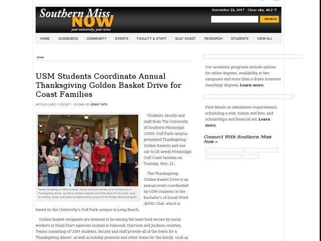 USM Students Coordinate Annual Thanksgiving Golden Basket Drive for Coast Families
