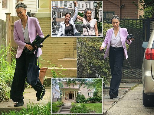 Mayor wannabe Maya Wiley seen leaving her $2.75 million Brooklyn home protected by private security