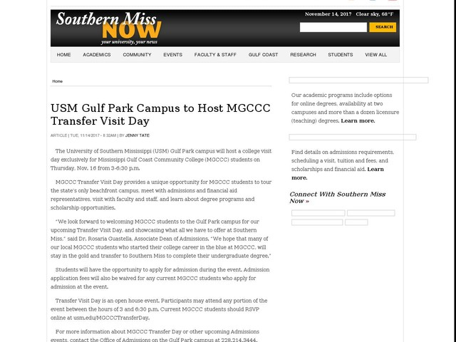 USM Gulf Park Campus to Host MGCCC Transfer Visit Day