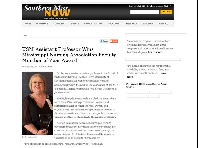 USM Assistant Professor Wins Mississippi Nursing Association Faculty Member of Year Award