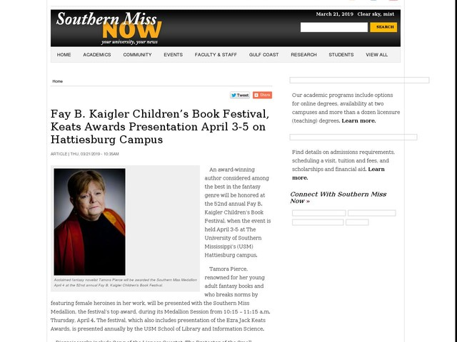 Fay B. Kaigler Children's Book Festival, Keats Awards Presentation April 3-5 on Hattiesburg Campus