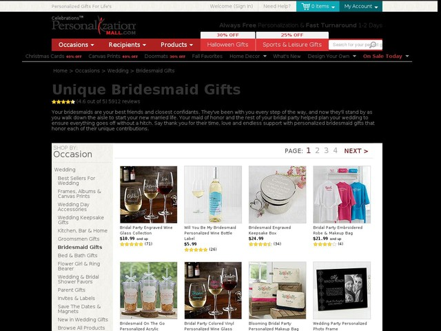 Personalized Bridesmaid Gifts | PersonalizationMall.com