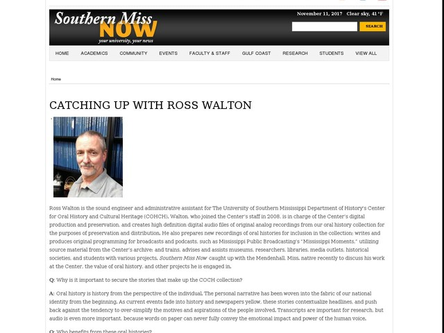 CATCHING UP WITH ROSS WALTON