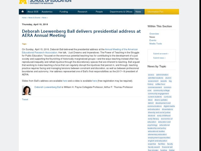 Deborah Loewenberg Ball delivers presidential address at AERA Annual Meeting