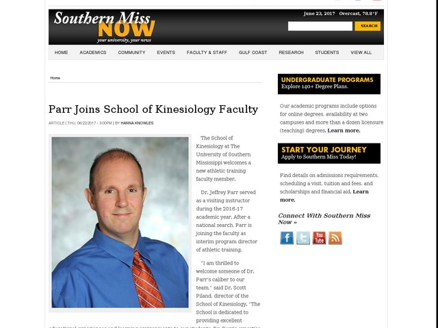 Parr Joins School of Kinesiology Faculty