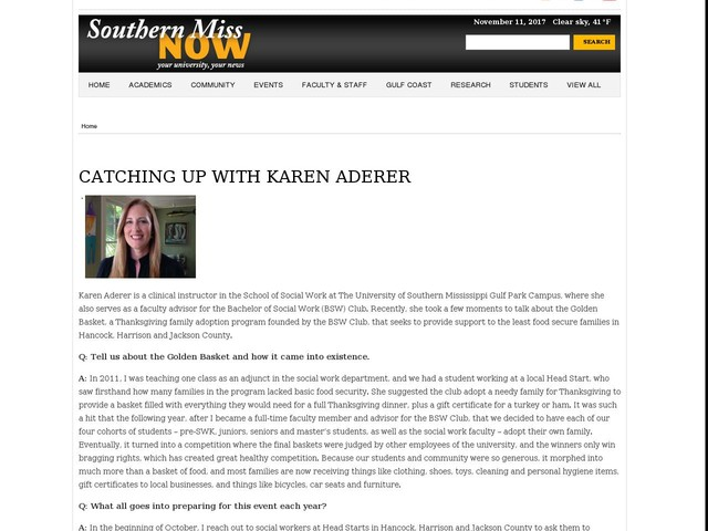 CATCHING UP WITH KAREN ADERER