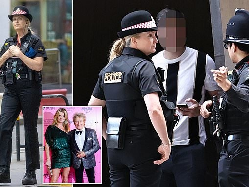 Penny Lancaster is seen on patrol for the first time since becoming a qualified police officer