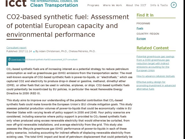 CO2-based synthetic fuel: Assessment of potential European capacity and environmental performance