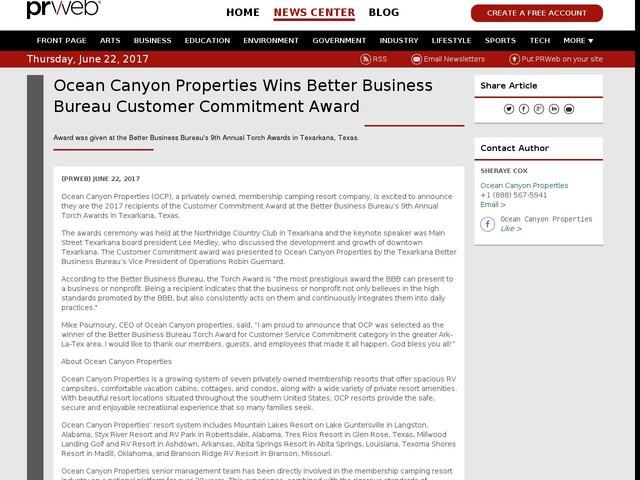 Ocean Canyon Properties Wins Better Business Bureau Customer...