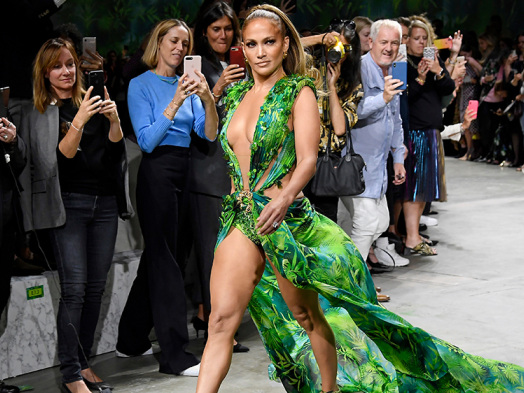 Jennifer Lopez Closes Out Versace Show in Famous Green Grammys Dress