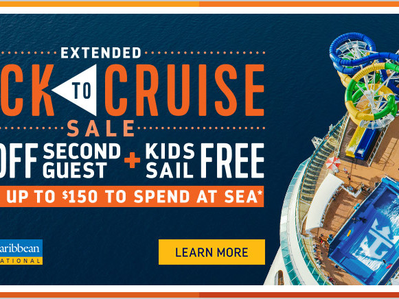 Royal Caribbean's Back to Cruise Sale offers Kids Sail Free, 50% off second guest and bonus onboard credit