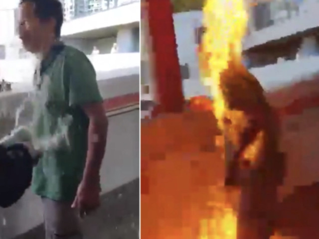 """Man Set On Fire In Hong Kong After Confronting """"Enemy Of The People"""" Rioters"""