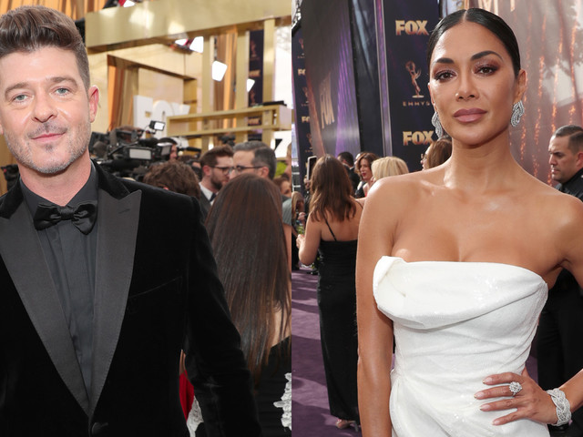 Robin Thicke & Nicole Scherzinger Attend Emmys 2019 Alongside 'Masked Singer' Co-Stars