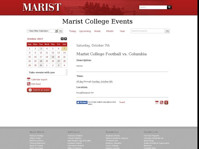 Oct 7 - Marist College Football vs. Columbia