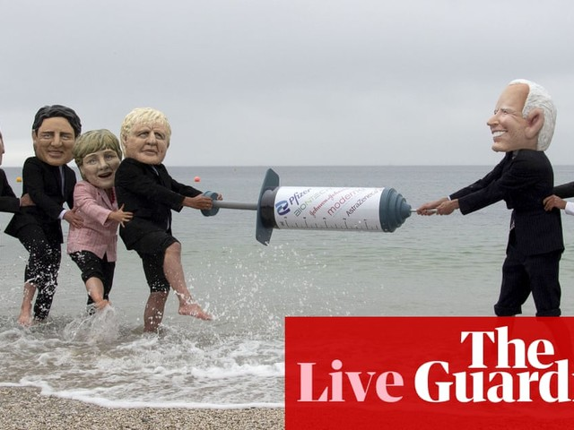 G7 live news: Johnson rejects claim offer of 100m Covid vaccine doses to poorer countries is too little