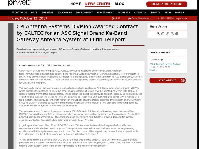 CPI Antenna Systems Division Awarded Contract by CALTEC for an ASC...