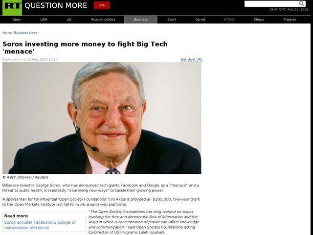 Soros investing more money to fight Big Tech 'menace'