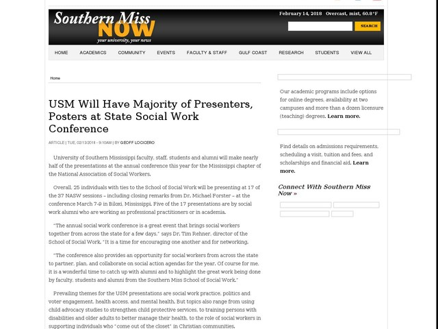 USM Will Have Majority of Presenters, Posters at State Social Work Conference