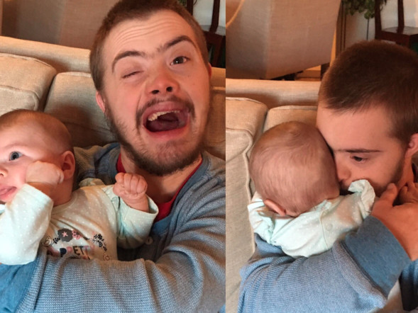 Why This Dad Shared a Photo of His Brother With Down Syndrome Holding a Newborn