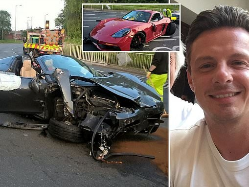 Millionaire sports car dealer, 32, banned from driving after crashing his Ferrari into a Porsche