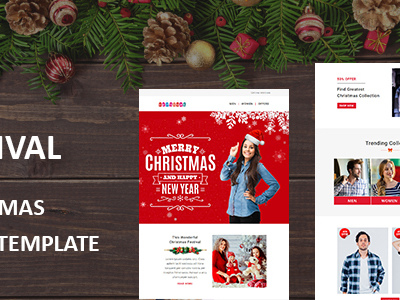 Festival - Christmas Responsive Email Template with Stampready Builder Access (Newsletters)