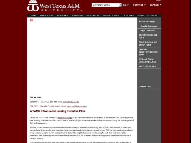 WTAMU Introduces Housing Incentive Plan