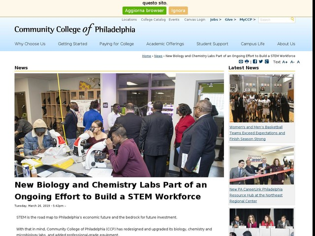New Biology and Chemistry Labs Part of an Ongoing Effort to Build a STEM Workforce