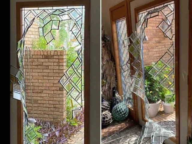 Man smashes through front door, begins beating woman in home. But her husband in his 70s gets his gun and ends attack — along with intruder.