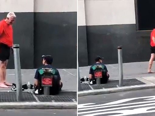 New York jogger gives his socks and sneakers to a homeless man and walks away barefoot