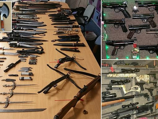 Horrific arsenal of guns, knives, axes, machetes and crossbows is found in garden shed