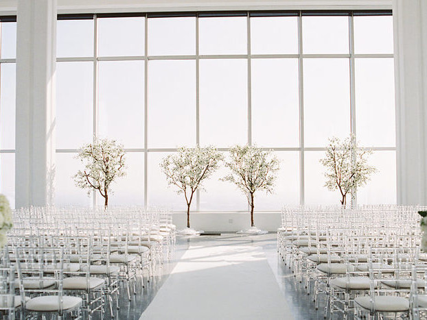 An All White Wedding with Skyline Views at South Park Center