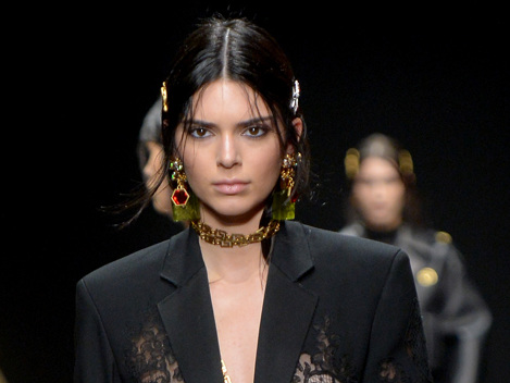 Kendall Jenner Bares All In See-Through Lace Blazer On Versace Runway With Gigi & Bella Hadid