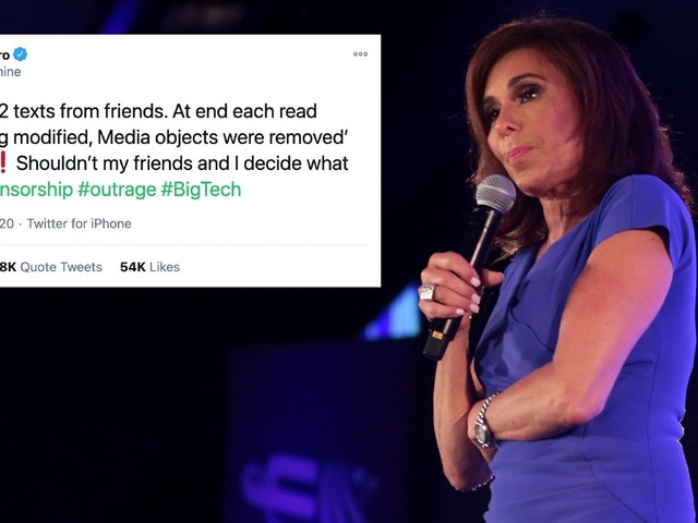 Fox News host Jeanine Pirro thinks her phone is being censored—but it's just a texting fail