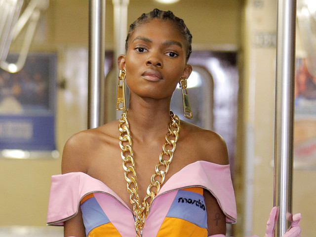 Moschino debuts latest collection on the NYC subway