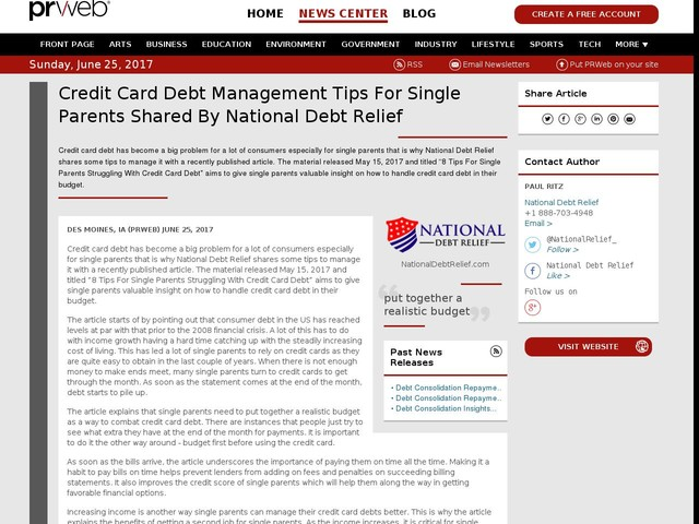Credit Card Debt Management Tips For Single Parents Shared By National...