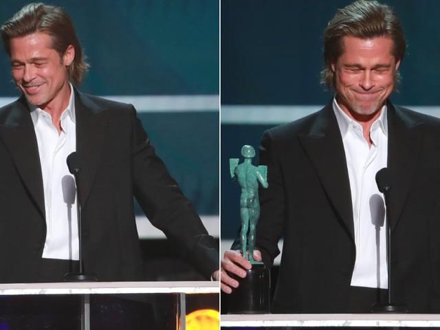Brad Pitt Jokes About Tinder, Feet, and Getting High in Hilarious SAG Awards Speech
