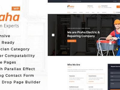 Praha - Electrician Experts WordPress Theme (Business)