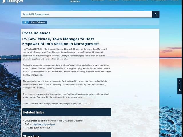 Lt. Gov. McKee, Town Manager to Host Empower RI Info Session in Narragansett
