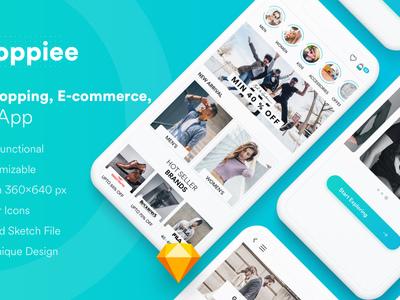 Shoppiee Mobile App - UI Kit (Sketch Templates)